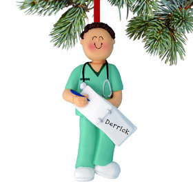 Personalized Nurse, EMT, or Physician Assistant Male Christmas Ornament