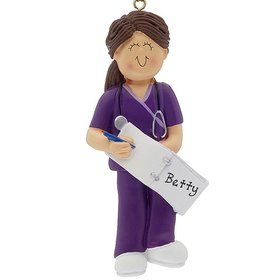 Personalized Nurse, EMT, or Physician Assistant Female Christmas Ornament