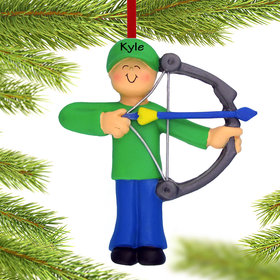 Personalized Archery Male Christmas Ornament