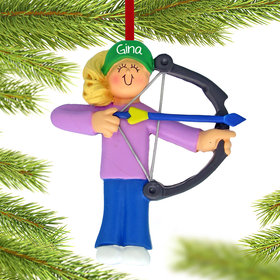 Personalized Archery Female Christmas Ornament