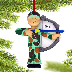 Personalized Bow Hunter Christmas Ornament