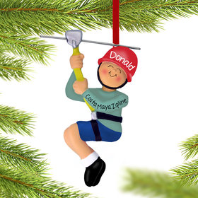 Personalized Male Zipline Christmas Ornament