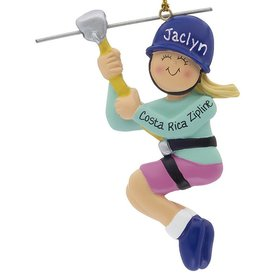 Personalized Female Zipline Christmas Ornament