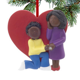 Engagement Heart Couple Christmas Ornament