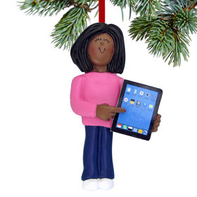 Touch Tablet Computer Female Christmas Ornament