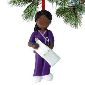 Nurse, EMT, or Physician Assistant Female Christmas Ornament