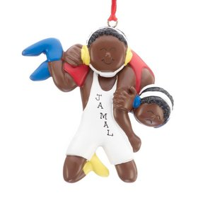 Personalized Ethnic Wrestling Male Christmas Ornament