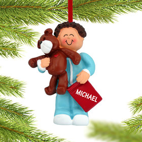 Personalized Toddler Boy with Teddy Bear and Book Christmas Ornament