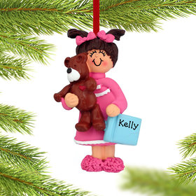 Personalized Toddler Girl with Teddy Bear and Book Christmas Ornament