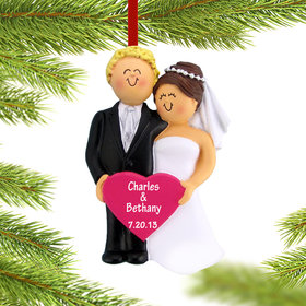 Personalized Bride and Groom Holding A Pink Heart Christmas Ornament