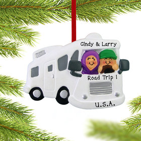 Personalized Motor Home RV Couple Christmas Ornament