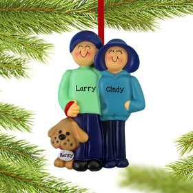 Personalized Couple and Dog Christmas Ornament