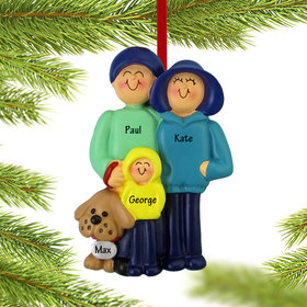 Personalized Family of 3 and Dog Christmas Ornament