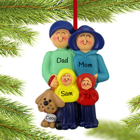 Personalized Family of 4 and Dog Christmas Ornament