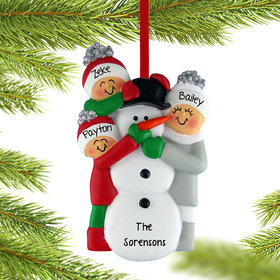 Personalized Building a Snowman Family of 3 Christmas Ornament