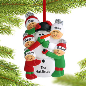 Personalized Building a Snowman Family of 5 Christmas Ornament