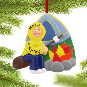 Personalized Camping Boy Christmas Ornament