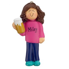 Personalized Beer Drinker Female or 21st Birthday Christmas Ornament