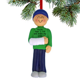 Personalized Broken Arm Male Christmas Ornament