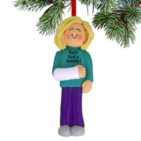 Personalized Broken Arm Female Christmas Ornament