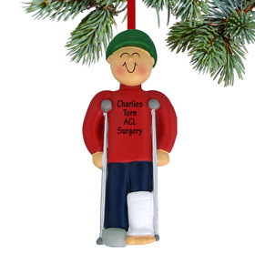 Personalized Broken Leg Male Christmas Ornament
