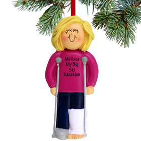 Personalized Broken Leg Female Christmas Ornament