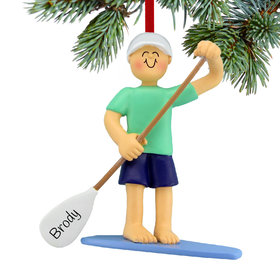 Personalized Paddle Board Male Christmas Ornament