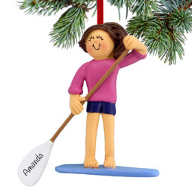 Personalized Paddle Board Female Christmas Ornament