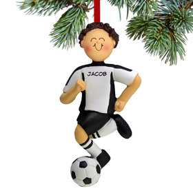 Personalized Soccer Boy Black Uniform Christmas Ornament