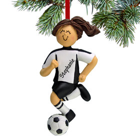 Personalized Soccer Girl Black Uniform Christmas Ornament