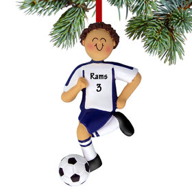 Personalized Soccer Boy Blue Uniform Christmas Ornament