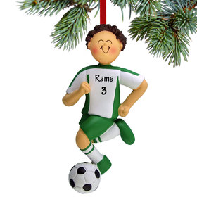 Personalized Soccer Boy Green Uniform Christmas Ornament