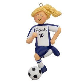 Personalized Soccer Girl Blue Uniform Christmas Ornament
