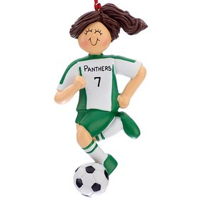 Personalized Soccer Girl Green Uniform Christmas Ornament