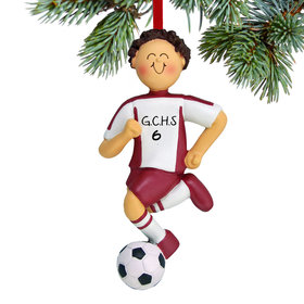 Personalized Soccer Boy Red Uniform Christmas Ornament