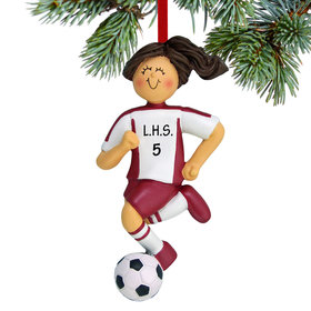 Personalized Soccer Girl Red Uniform Christmas Ornament
