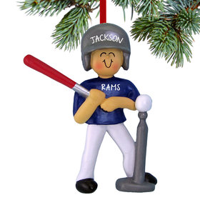 Personalized Tee Ball Boy Christmas Ornament