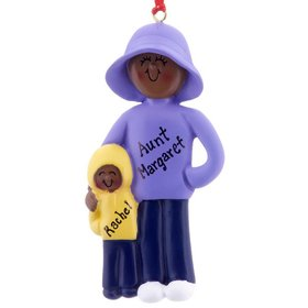 Personalized Adult Female and 1 Child Christmas Ornament