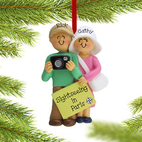 Personalized Tourist Couple Christmas Ornament