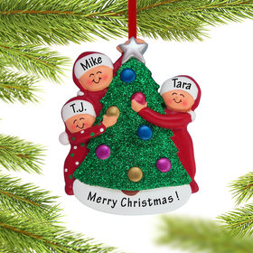 Personalized Family Decorating the Tree 3 Christmas Ornament