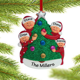 Personalized Family Decorating the Tree 4 Christmas Ornament