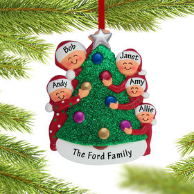 Personalized Family Decorating the Tree 5 Christmas Ornament