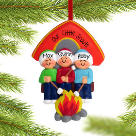Personalized Camping Family of 3 Christmas Ornament