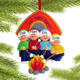 Personalized Camping Family of 4 Christmas Ornament