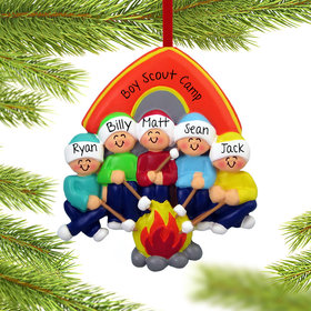 Personalized Camping Family of 5 Christmas Ornament