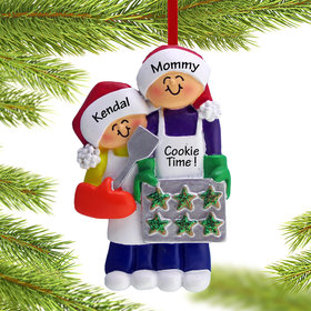 Personalized Baking Cookies with Grandma or Mom (1 Child) Christmas Ornament