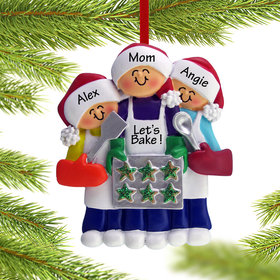 Personalized Baking Cookies with Grandma or Mom (2 Children) Christmas Ornament
