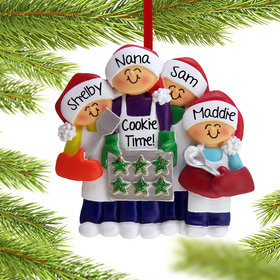 Personalized Baking Cookies with Grandma or Mom (3 Children) Christmas Ornament
