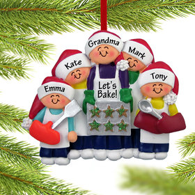 Personalized Baking Cookies with Grandma or Mom (4 Children) Christmas Ornament
