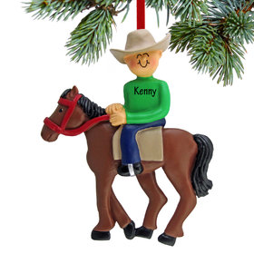 Personalized Horseback Rider Male Christmas Ornament